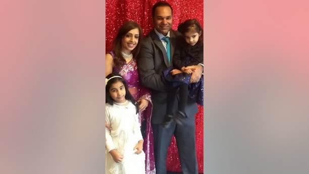 "Reeta and husbnad Bhooshan and their two girls. See Masons story MNSEPSIS; Husband pays heartbreaking tribute to his 38yo wife who died from sepsis shortly after suffering a miscarriage with their third child. A grieving husband has paid tribute to his 38-year-old wife who died from sepsis shortly after suffering from a miscarriage. Mum-of-two Reeta Saidha was just three months pregnant when she was admitted to hospital on December 19, 2017, after her waters broke.  She was told to wait 24 hours in order to see if the labour would progress naturally - but within this time, Reeta had not progressed and her condition worsened. Her health deteriorated rapidly and she had all the symptoms of sepsis - but wasn't actually diagnosed for two days. Reeta's husband of 12 years, Bhooshan Saidha, 41, said: ""I have looked at the medical records and I believe the hospital have failed my wife."