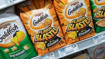 Pepperidge Farm Goldfish Flavor Blasted Xtra Cheddar crackers are on display at a supermarket in the East Village neighborhood of Manhattan, Tuesday, July 24, 2018. Flavor Blasted Xtra Cheddar is one of four varieties of Goldfish Crackers Pepperidge Farm is voluntarily recalling because of fears they could potentially have salmonella. (AP Photo/Mary Altaffer)