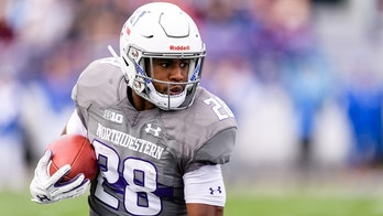 EVANSTON, IL - SEPTEMBER 08: Northwestern Wildcats running back Jeremy Larkin (28) runs the ball in the 1st quarter during a college football game between the Duke Blue Devils and the Northwestern Wildcats on September 08, 2018, at Ryan Field in Evanston, IL. (Photo by Daniel Bartel/Icon Sportswire via Getty Images)