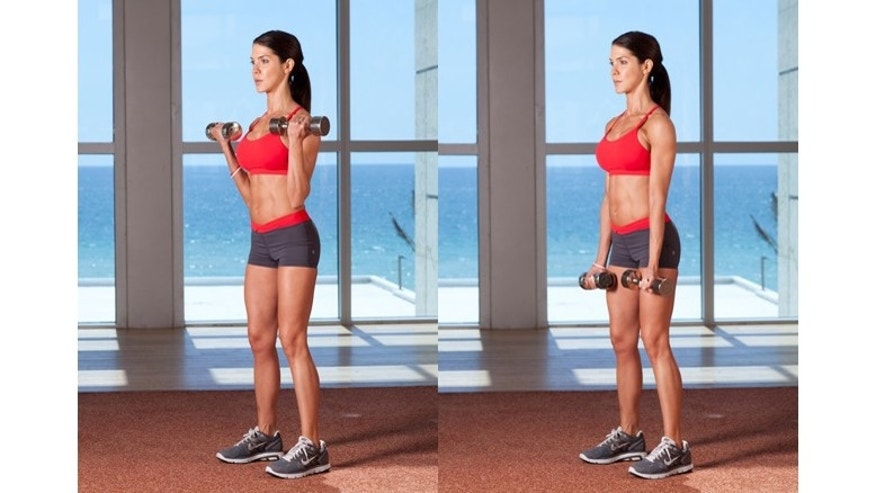 Standing Curl  Have your palms facing up and use the biceps (no swinging) and keep your elbows tight to your sides to pre-exhaust the arm muscles.
