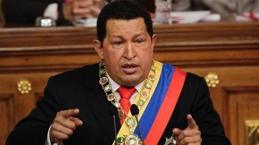 Venezuelas President Hugo Chavez, speaks during his annual state of the union address at the National Assembly in Caracas, Venezuela, Saturday, Jan. 15, 2011.  Chavez called for conciliation between Venezuelas political rivals and told his allies in the legislature to respect their political adversaries.(AP Photo/Ariana Cubillos)