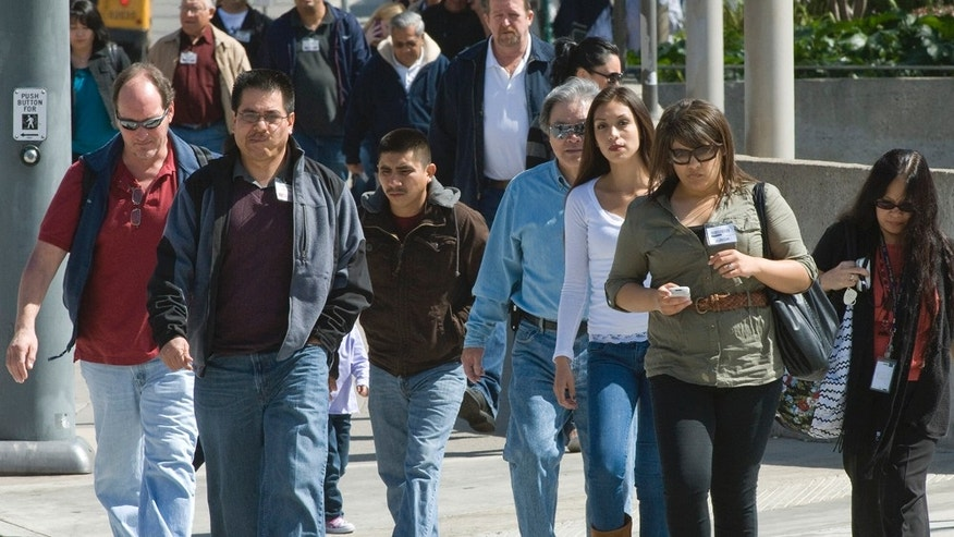 Jurrors and court workers, a cross section of Orange County,   leave the Santa Ana, Calif.  courthouse on Tuesday, March 8, 2011.  Surging Latino and Asian populations accounted for virtually all of California's population growth over the last decade, new census data showed on Tuesday.  In the decade spanning 2000 and 2010, Latinos grew by 28 percent to 14 million in the nation's most populous state, while Asians grew even faster, by 31 percent, to reach 4.8 million.   In contrast, non-Hispanic whites decreased by 5 percent and the state's African-American population dipped by 1 percent.  Over the decade, California's population grew only 10 percent to 37.3 million, ranking just 20th nationally and lagging behind other western states such as Nevada and Arizona.   (AP Photo/Orange County Register, Jebb Harris)
