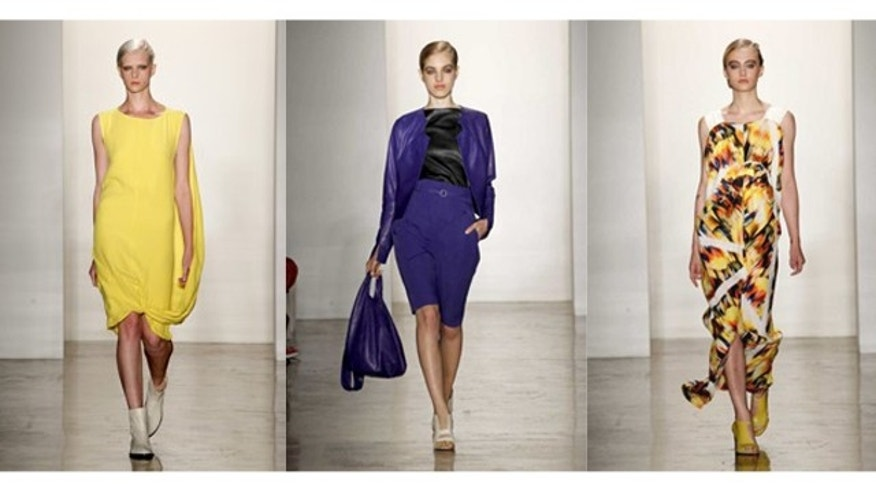 Photo shows the Zero + Maria Cornejo Spring 2012 collection modeled during Fashion Week in New York.