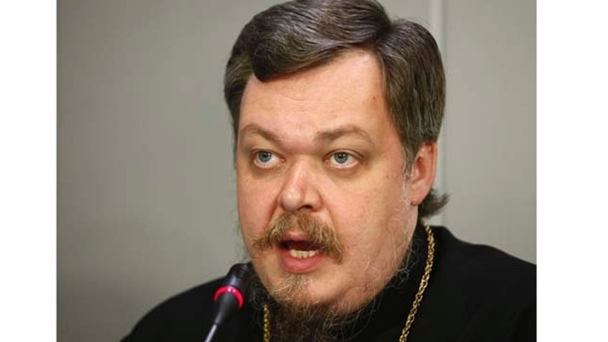 "FILE  - In this Monday, May 30, 2011 file photo, Russian Orthodox Church spokesman Father Vsevolod Chaplin speaks at a news conference on proposed legislation to curb abortion rates in Russia, in Moscow. Father Vsevolod Chaplin called on authorities Wednesday Sept. 28, 2011 to investigate and ban novels by Vladimir Nabokov and Gabriel Garcia Marquez for ""justifying pedophilia."" (AP Photo/Alexander Zemlianichenko, File)"