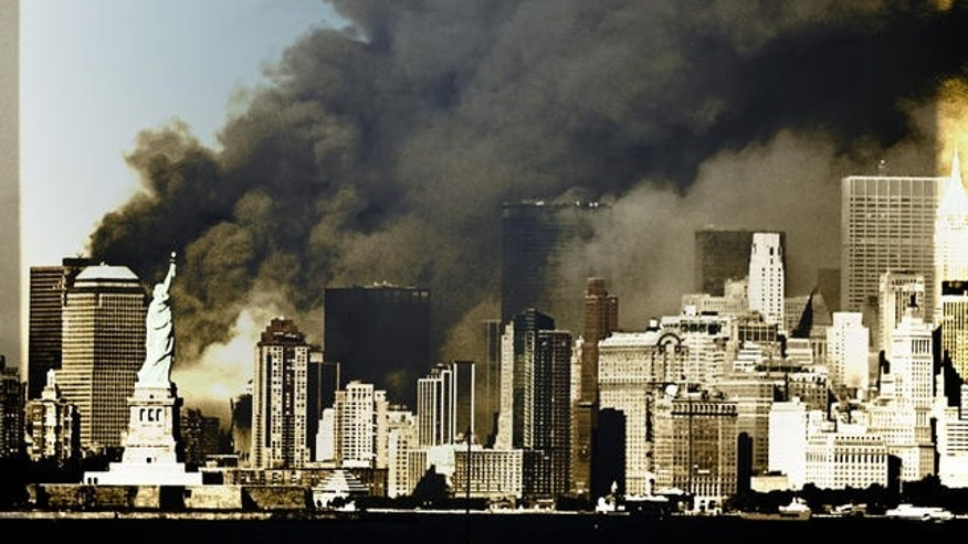 In the shadow of Lady Liberty, the Twin Towers burned and fell after the terrorist attacks.