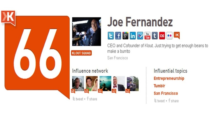 A screenshot of the Klout page for CEO and Co-Founder Joe Fernandez. (Courtesy Klout.com)