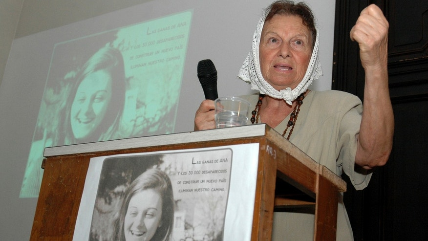 Zaida Franz, mother of Ana Teresa Diego, whose picture is seen below and top left, speaks at a ceremony commemorating the 30th anniversary of Diego's disappearance in La Plata, Argentina.