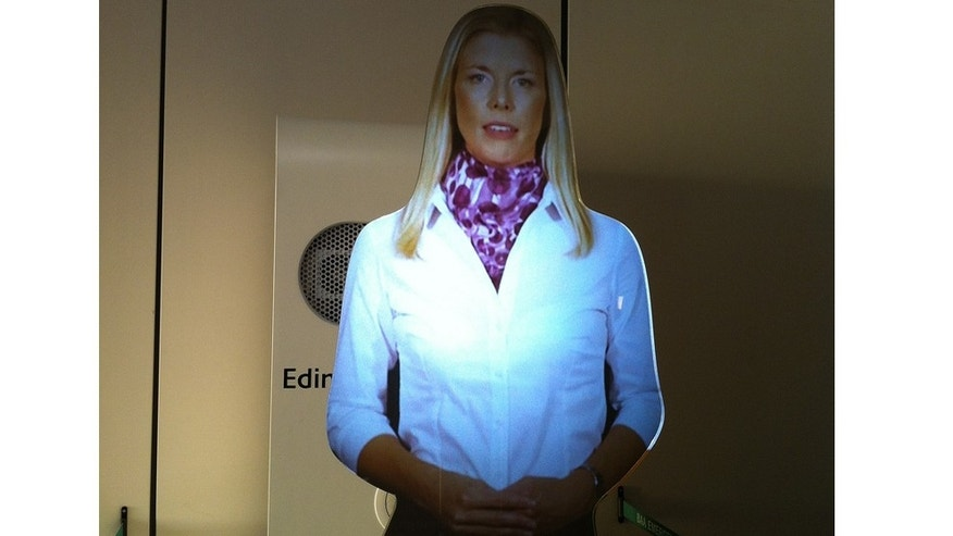 A virtual assistant at Edinburgh Airport in Scotland.