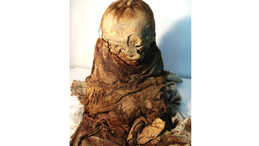 This undated photo released by Peru's Ministry of Culture shows a mummy.