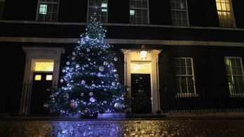 LONDON, ENGLAND - DECEMBER 01: The Christmas tree is illuminated on Downing Street after the lights were turned on by British Prime Minister David Cameron, Blue Peter presenter Helen Skelton, and Blue Peter Badge winners on December 1, 2011 in London, England. The tree was grown by Andrew Ingram on Christmas Common near Thame in Oxfordshire.  (Photo by Dan Kitwood/Getty Images)