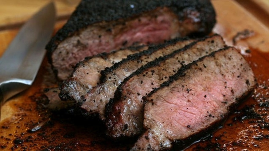 ** FOR USE WITH AP WEEKLY FEATURES ** Moderate amounts of lean beef can have a place in a healthy diet. Coffee-and cocoa-encrusted sirloin, shown in this May 1, 2007 photo, uses a lean cut of beef and should not be cooked past medium to prevent it from drying out. (AP Photo/Larry Crowe)