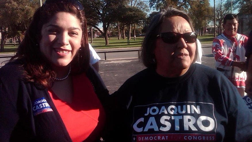 Rosie Castro at a campaign event for her son, Joaquin, when he ran for Congress.