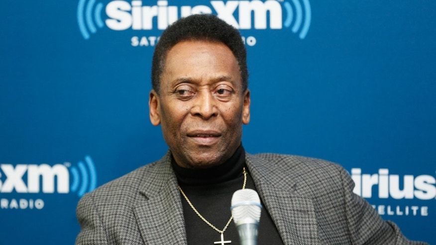NEW YORK, NY - APRIL 02:  Soccer legend Pele takes part in a SiriusXM 'Town Hall' special with host Seamus Malin on SiriusXM's FC channel at the SiriusXM Studio on April 2, 2014 in New York City.  (Photo by Cindy Ord/Getty Images for SiriusXM)