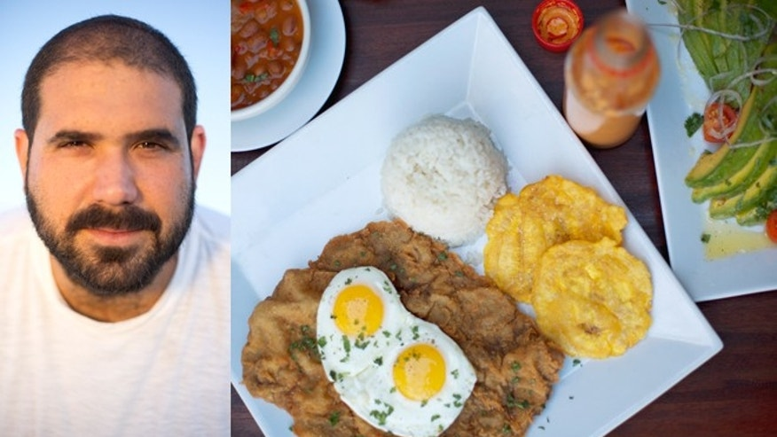 Left: José Enrique; Right: Crumbled fillet with eggs over easy, beans, rice, beans, tostones and avocado salad. (Photos: Dianne Pulliza)