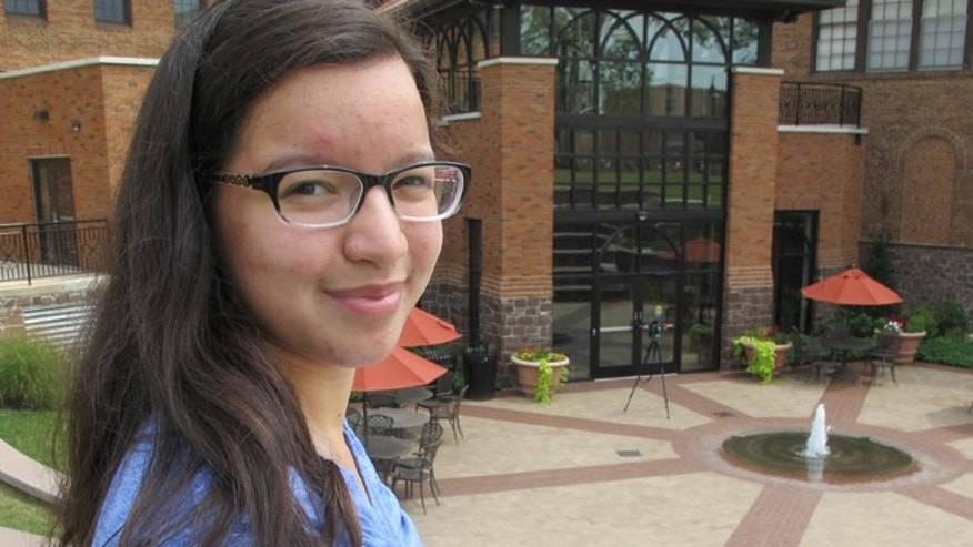 Alvernia University freshman Melisa Rivera poses for a portrait on the campus in Reading, Pa.