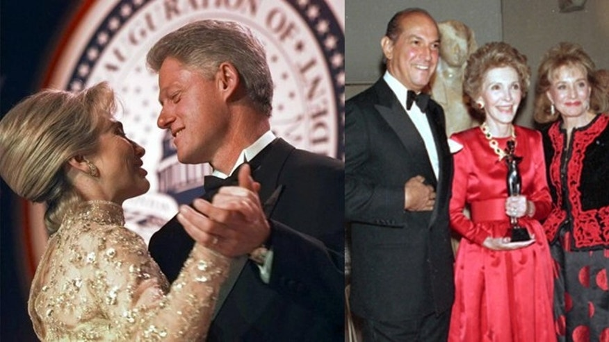 Left: The Clintons dancing at the 1997 inaugural ball. Hillary's gown was designed by Oscar de la Renta. (Doug Mills/Associated Press) Right: The designer with Nancy Reagan, in one of his designs, and Barbara Walters at the Metropolitan Museum of Art. (AP Photo/Ed Bailey)