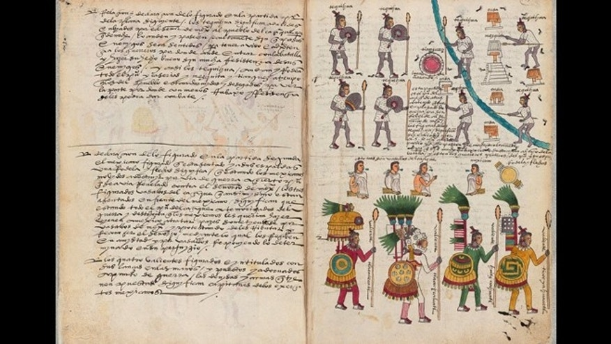 This image made from the screen of a mobile device on Thursday, Jan. 15, 2015 shows the The Codex Mendoza app with a page from the 16th century document that is considered one of the most important primary sources on the Aztecs of pre-Columbian Mexico. The interactive document, released on Thursday by Mexico's National Institute of Anthropology (INAH), lets users mouse-over the old Spanish text for translations into English or modern Spanish, and click on images for richer explanations and explore maps of the area. The original was compiled by Aztec and Spanish artisans to inform the king of Spain about conditions in the viceroyalty. (AP Photo)