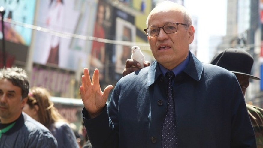 "Tom Finkelpearl, Commissioner of the New York City Department of Cultural Affairs, at the Times Square enactment of Tania Bruguera's ""Tatlin's Whisper #6."" (Photo: Julie Schwietert Collazo/Fox News Latino)"