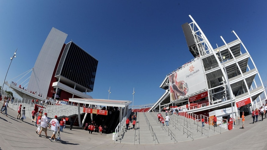 SANTA CLARA, CA - SEPTEMBER 14:  A general view from outside Levi's Stadium before the game between the San Francisco 49ers and the Chicago Bears  on September 14, 2014 in Santa Clara, California.  (Photo by Noah Graham/Getty Images)