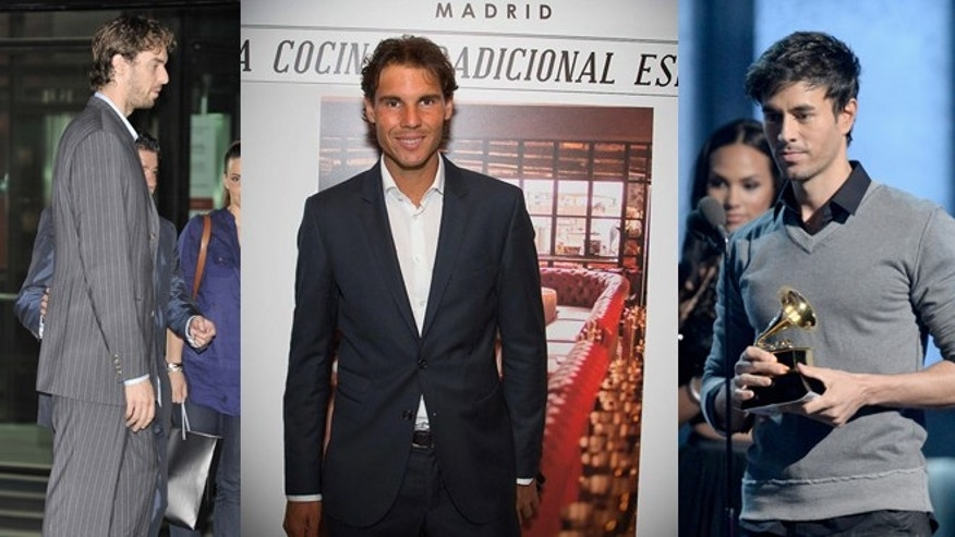 From left: Pau Gasol, Rafa Nadal and Enrique Iglesias (Photos: Gasol, Carlos Alvarez/Getty Images; Nadal, Via Twitter; Iglesias, Kevork Djansezian/Getty Images)