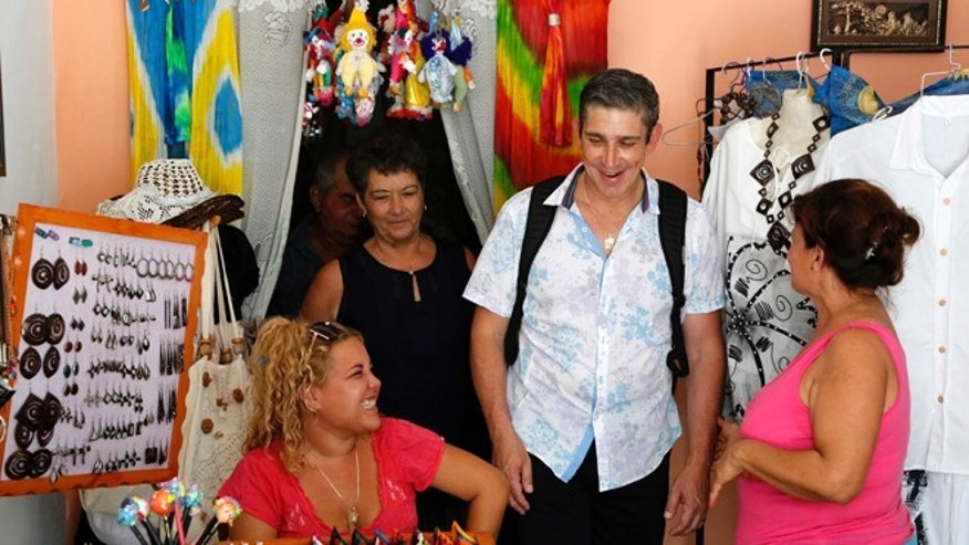 Poet Richard Blanco, accompanied by family members, visits Cienfuegos, Cuba, on June 17, 2015 .