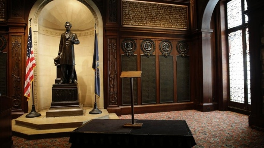 This photo shows the lectern President Abraham Lincoln used to deliver the Gettysburg Address before a news conference at The Union League of Philadelphia, Friday, Aug. 7, 2015, in Philadelphia. Pope Francis will use the lectern when he speaks outside Philadelphia's Independence Hall in September. (AP Photo/Matt Slocum)