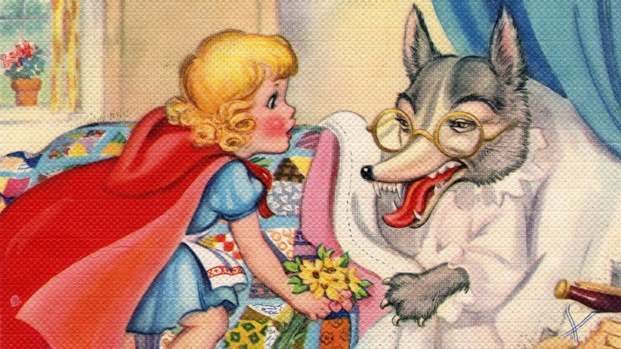Vintage illustration from the fairy tale Little Red Riding Hood, depicting Riding Hood looking at the Big Bad Wolf's big teeth, c. 1940. Screen print. (Illustration by GraphicaArtis/Getty Images)