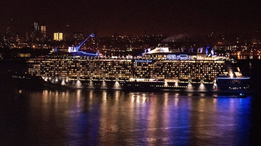 Anthem of the Seas is seen here arriving into New York City. It docked for the first time in Puerto Rico on Friday. (PRNewsFoto/Royal Caribbean)