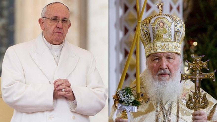 Pope Francis and Russian Orthodox Patriarch Kirill.