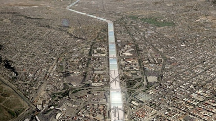 Overhead of the proposed solar panels laid in over the Tijuana River. (Image: Google Earth; courtesy Center for Urban and Economic Design)