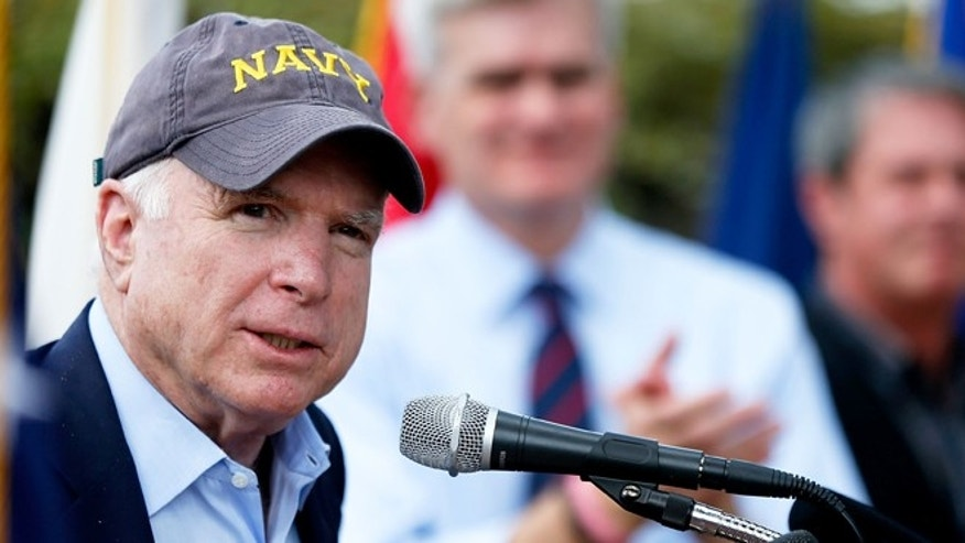 U.S. Senator John McCain (R-AZ) speaks at a Veterans rally at the USS Kidd Museum on October 13, 2014 in Baton Rouge, Louisiana.  (Photo by Sean Gardner/Getty Images)
