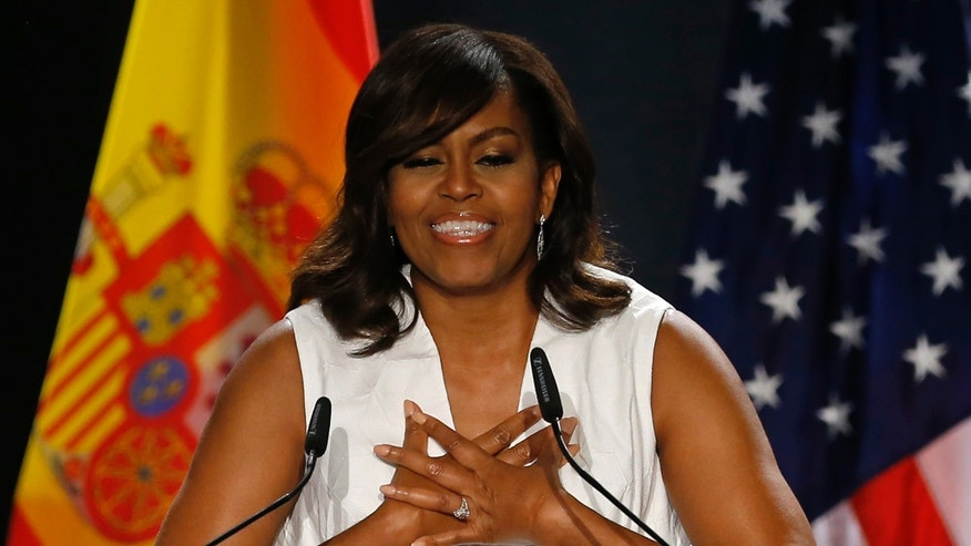 First lady Michelle Obama gives a speech in Madrid, Spain, Thursday June 30, 2016.
