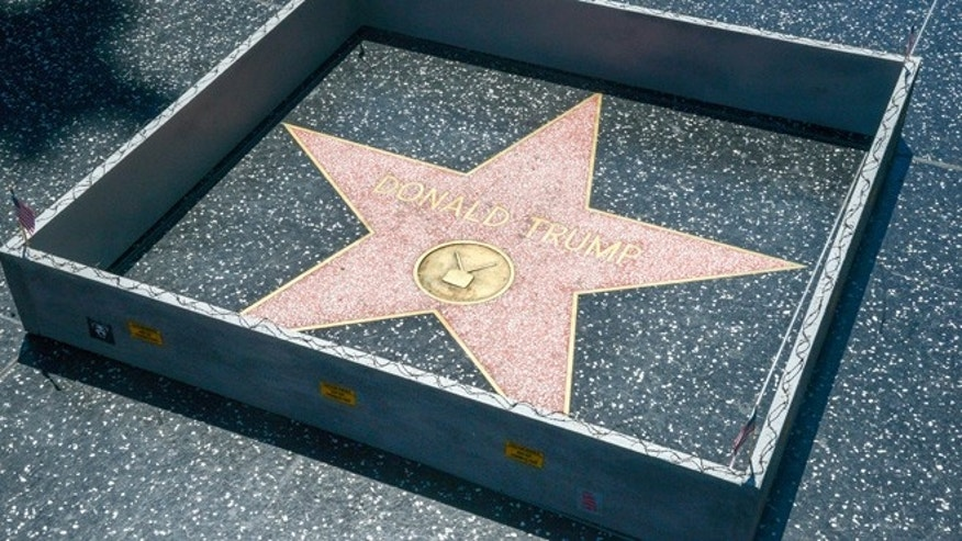 Hollywood sightseeers on the famous walk of fame were confronted with an unusual edition to Trump's Famous Star.