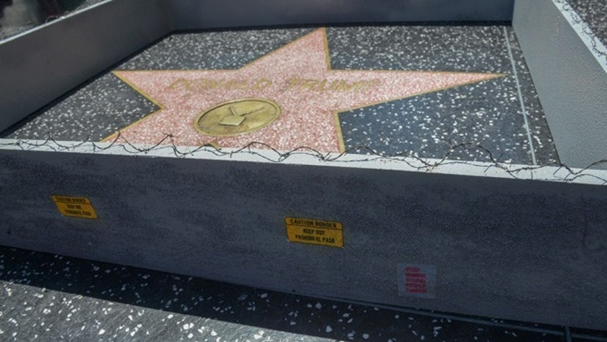 "Hollywood sightseeers on the famous walk of fame were confronted with an unusual addition to Trump's Famous Star. Someone had built a 6"" tall grey concrete wall around it. Complete with ""Keep out"" signs and topped with razor wire. The unofficial addtion to the icon star appeared early Tuesday afternoon, to the amusement of onlookers. There was no word as to who created the humorous installation. However the miniture wall was adorned with ""STOP MAKING STUPID PEOPLE FAMOUS"" which is believed to be the work of LA Street artist Plastic Jesus."