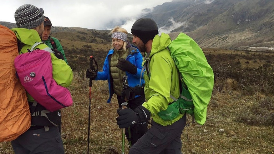 Adrianne Haslet, second from right, climbs Ecuador's Volcan Cayambe with a team of climbers and a guide.