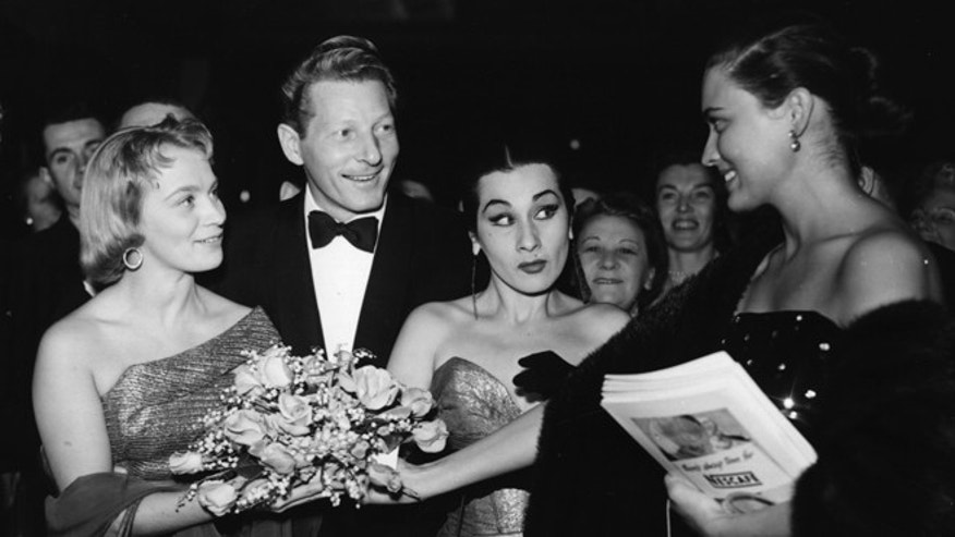 From left: Mai Zetterling, Danny Kaye, Yma Sumac and Julie Wilson at the Apr. 23, 1954, premiere of 'Knock on Wood.'  (Photo by Evening Standard/Getty Images)