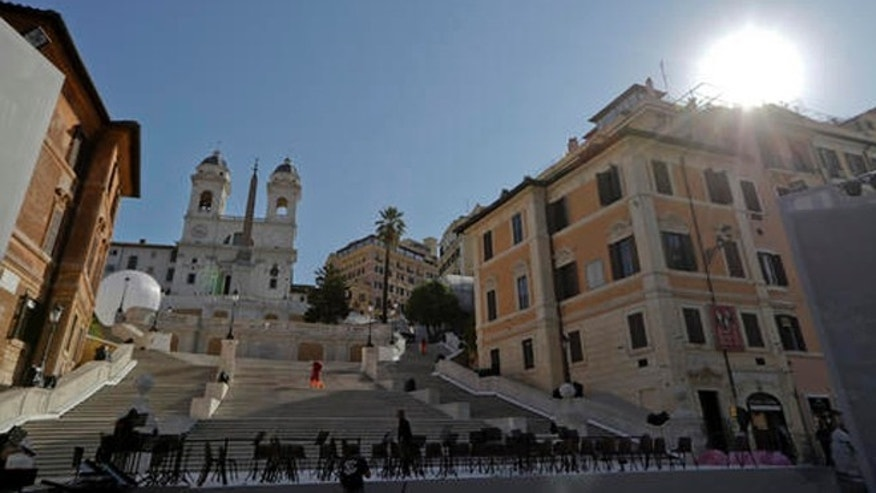 Chairs are set up to host a concert in front of the world-famous Spanish Steps before the start of a press conference to present the reopening of the site at the end of a 10-month restoration, in which Bulgari jewelry house participated, in Rome, Thursday, Sept. 22, 2016. The Spanish Steps will open again to the public on Friday. (AP Photo/Andrew Medichini)