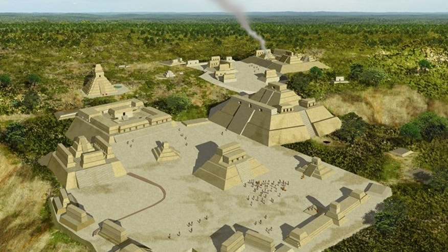 Reconstructed view of Holmul in the final phase of the Classic Period. (image by J. Gonzalez, PACUNAM)