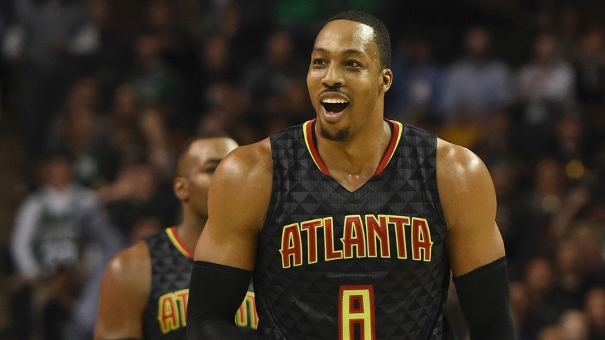 Feb 27, 2017; Boston, MA, USA; Atlanta Hawks center Dwight Howard (8) reacts after receiving his second technical foul of the game during the second half against the Boston Celtics at TD Garden.