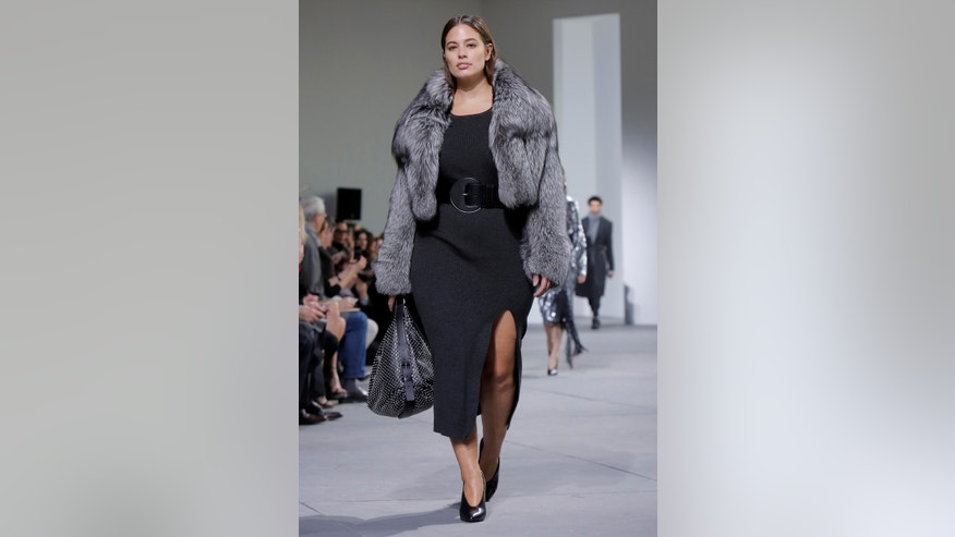 Model Ashley Graham presents creations from the Michael Kors Autumn/Winter 2017 collection during New York Fashion Week in the Manhattan borough of New York, U.S., February 15, 2017.