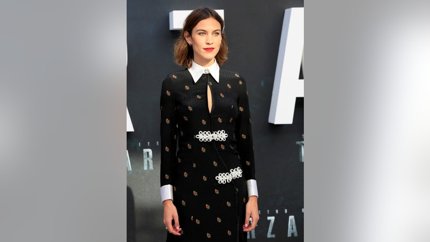 "British model Alexa Chung poses at the European premiere of the film ""The Legend of Tarzan"" at Leicester Square in London."
