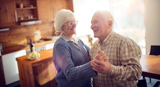 Close up of a senior couple dancing