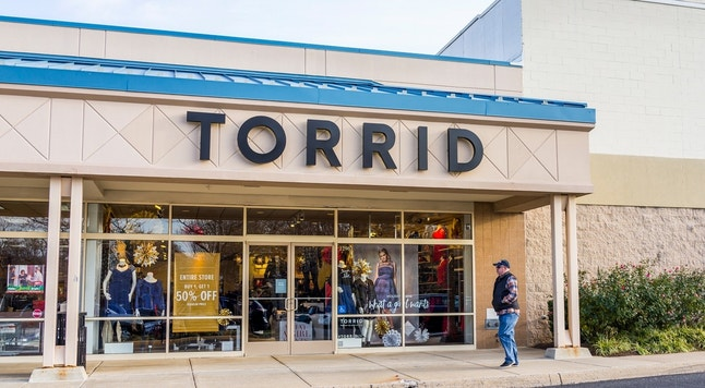Fairfax, United States - December 3, 2016: Torrid store facade that provides clothing for plus sized people in Virginia