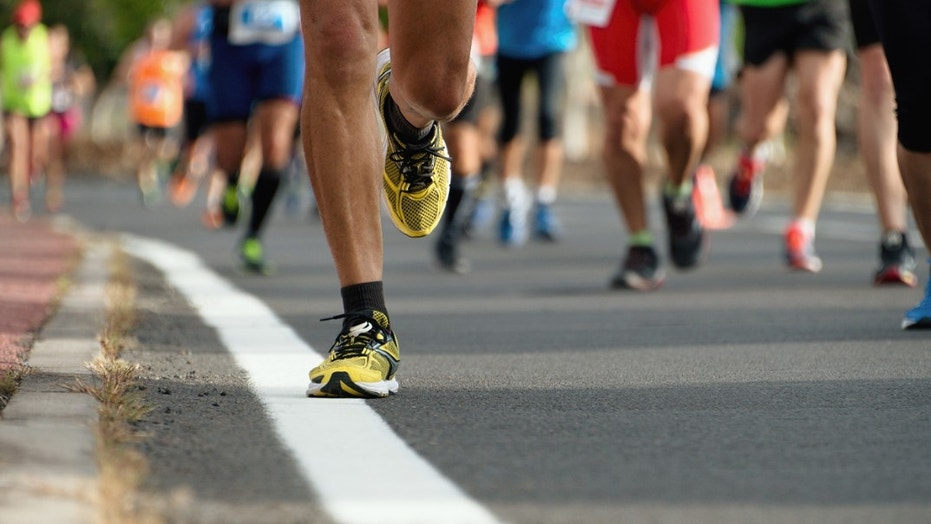 A marathon runner's shorts couldn't help up to his fast pace.