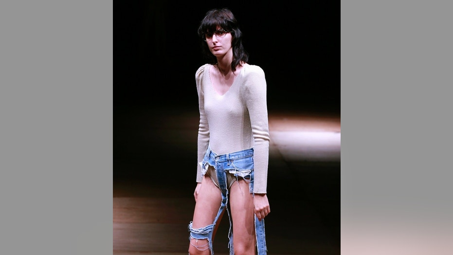 "The ""thong jeans"" made their runway debut in Tokyo on Tuesday, Oct. 17, 2017."