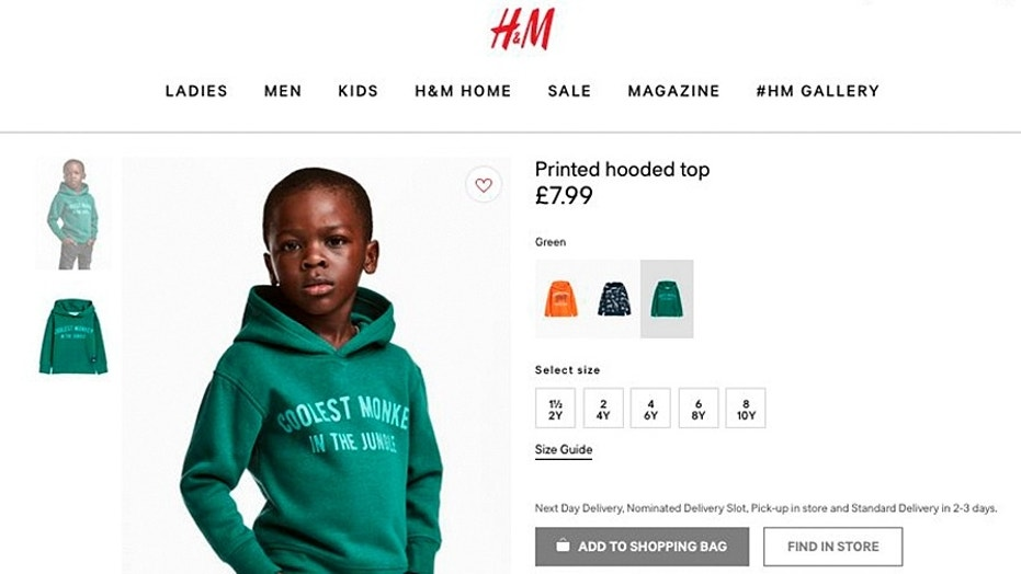 "An ad featuring a black child in a hooded sweatshirt reading ""Coolest Monkey in the Jungle"" has caused outrage on social media."
