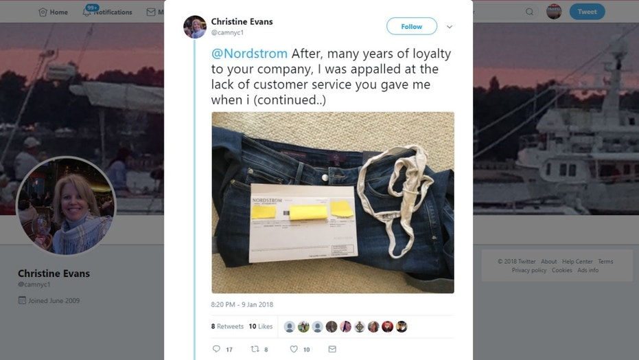 A woman from New York claims she found a used, dirty thong inside the pocket of some jeans she purchased from Nordstrom.