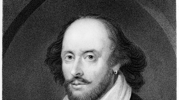 """William Shakespeare on engraving from """"Shakspeare's Dramatic Works, Vol. 1"""" published in 1849 in Boston"""