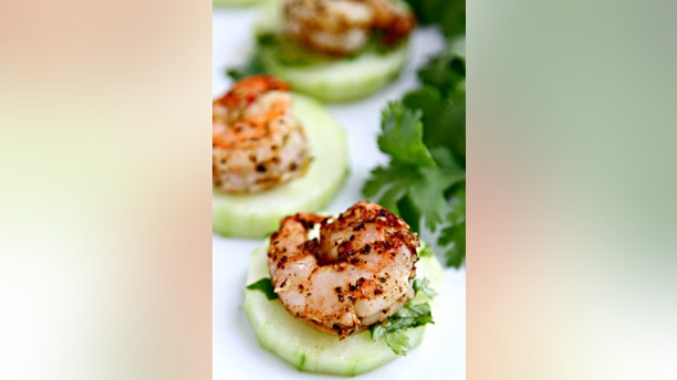 blackened shrimp and cucumber