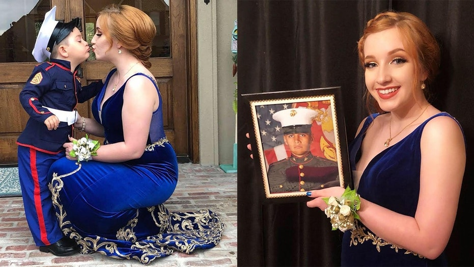 Marines 2 Year Old Brother Takes His Place In Girlfriends Prom